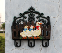 Cast Iron Wall Mail Letter Magazine Key Rack Holder Hooks Stand Country 3 Ducks Home Office Organizer Storage Wall Mount Painted