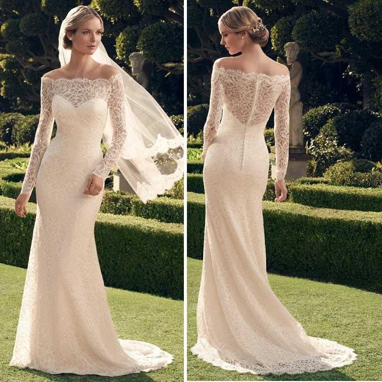 Vintage Wedding Dress Ca : Popular vintage lace long sleeve wedding dress buy cheap