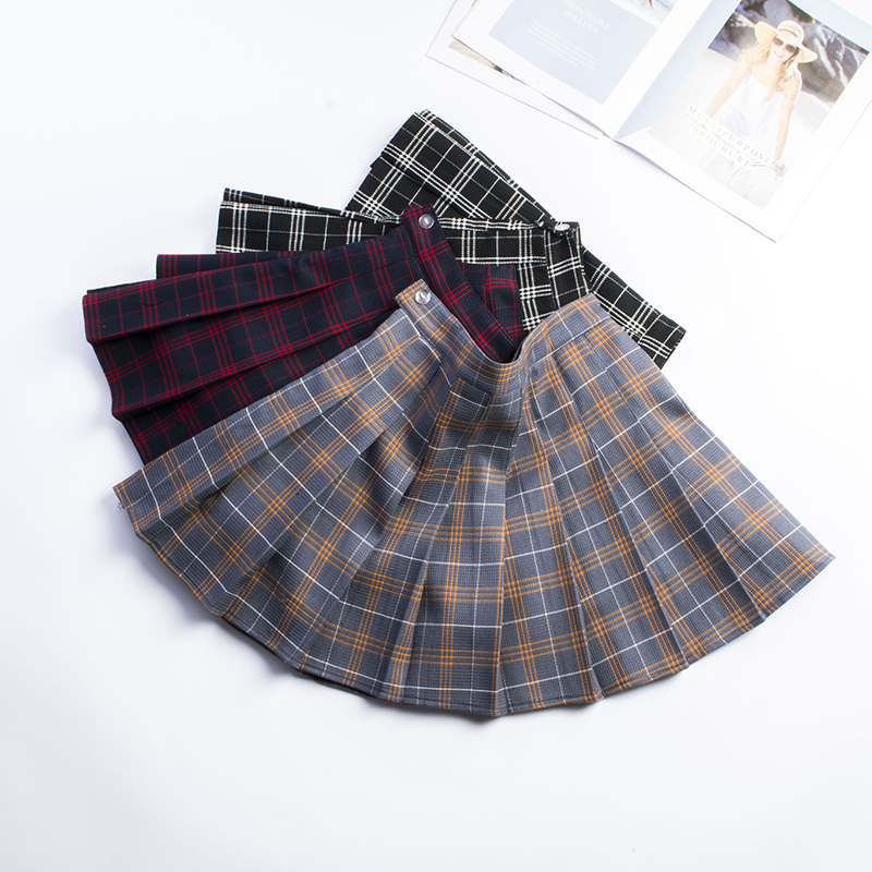 XS-XXL Nine Colors High Waist A-Line Women Skirt Harajuku Striped Safety Pants Student Pleated Skirt Sweet Girls Mini Skirt