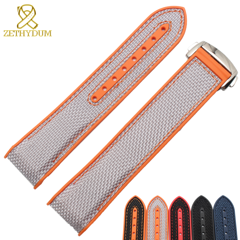 Nylon Canvas Watch Bracelet 20 22mm Bottom Is Silicone Watch Strap Suitable For Omega 9900 8900 Wristwatches Band Folding Clasp