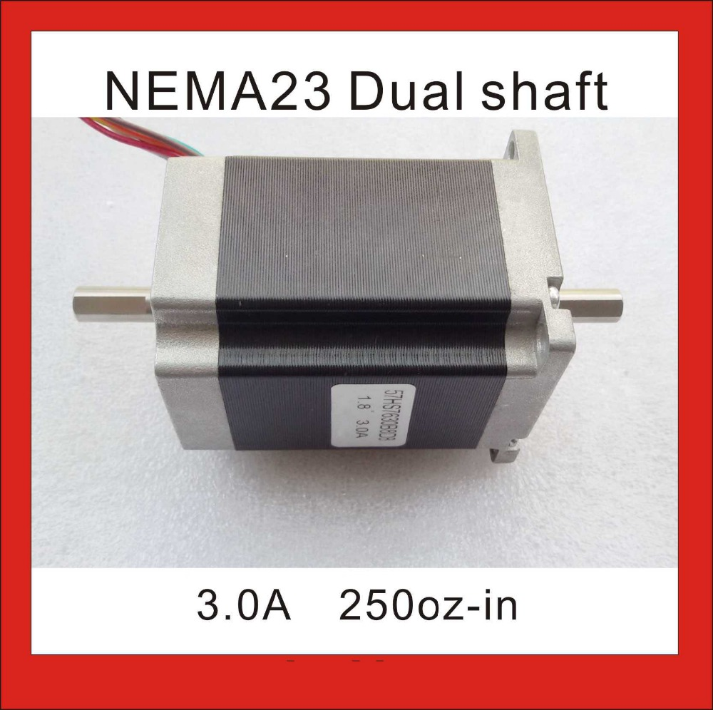 цена на 8mm Dual Shaft NEMA 23 Stepper Motor 180 N.cm (250 oz-in) Body Length 76 mm CE ROHS CNC Dual Shaft NEMA 23 Stepping Motor