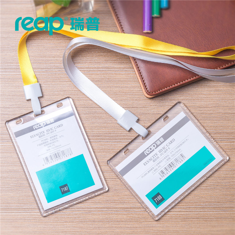 Reap 7187 Big Size(105mmx74mm) Acrylic ID Card Holder Clear Vertical Horizontal Style For Office ID Name Tags And Badge Holder