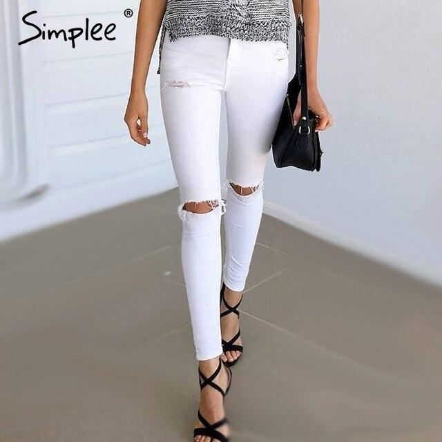 simplee d 39 t style blanc trou d chir jeans femmes jeggings frais denim taille haute pantalon. Black Bedroom Furniture Sets. Home Design Ideas
