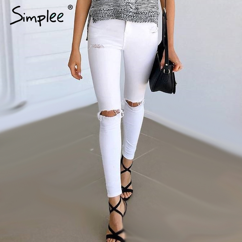 Simplee Summer style white hole ripped jeans Women jeggings cool denim high waist pants capris Female skinny black casual  jeans s 4xl big size high waist capris women sexy skinny jeans female denim capris girls blue jeans maxi jeans female high waist