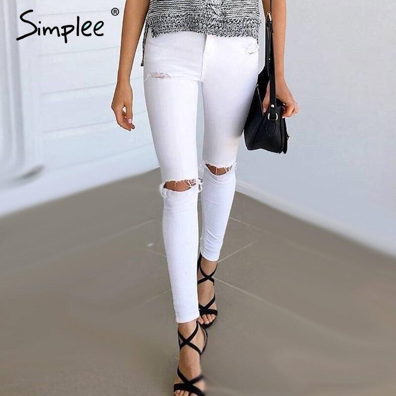 220a94866da Simplee Летний стиль Белый рваные джинсы Для женщин Джеггинсы классные  джинсовые высокие брюки с высокой талией Капри женские узкие черные  повседневные ...