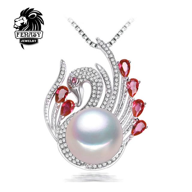 Boêmio colar de pérolas jóias colares & pingentes grande branco pérola 10-11mm moda swan mulheres colar de pérolas naturais, fenasy