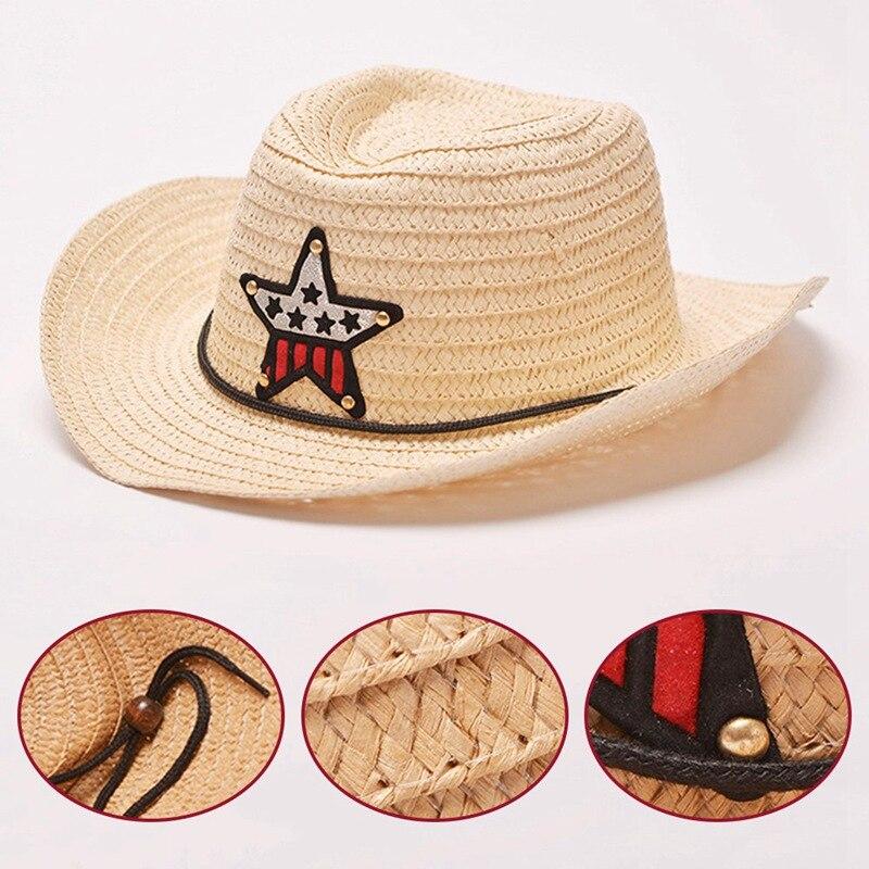 74f9f073 8 Colors Outdoor Boy Cowboy Hat Summer Cute Star Straw Hat For Boys Girls  Children's Star Patch Sun Hat Cute Kids Cap