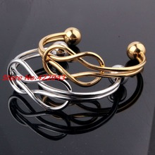 New Womens Girl Elegant Jewelry Gold color or Silver Infinity Open End Simple Cuff Bangle Bracelet Ladies Fashion Accessories