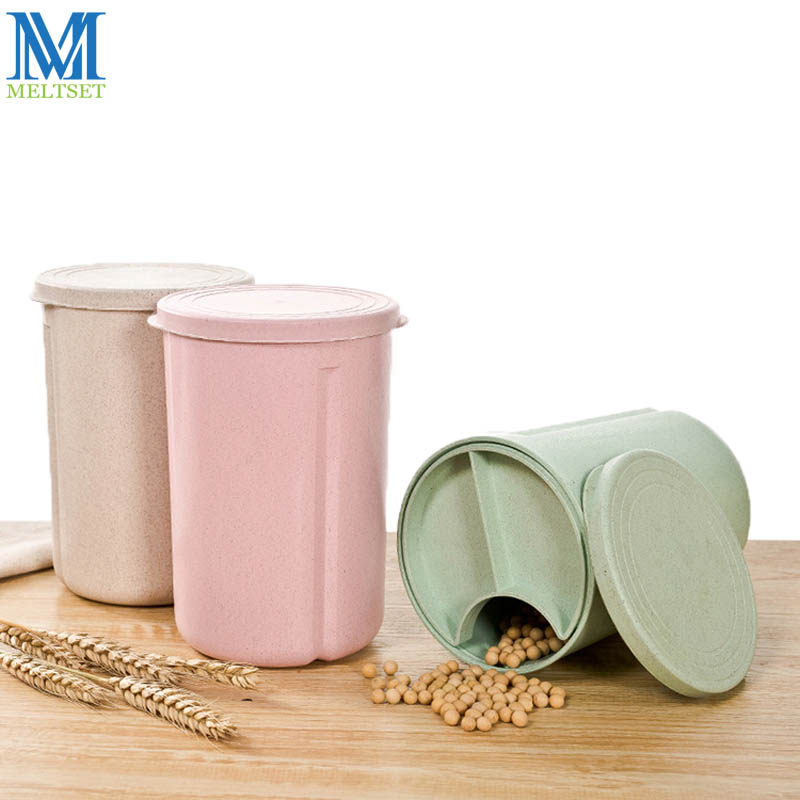 1PC Wheat Straw Storage Tank Grid Grain Sealed Jar With Lid Dampproof Kitchen  Storage Container(