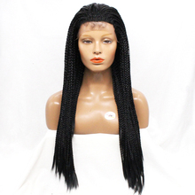 Free Shipping Natural Color Box Braided Lace Front Wigs Synthetic Braiding Hair for African and American Woman Straight Wig