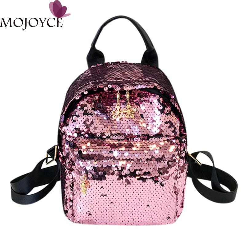 Women Shining Sequins Backpack Pu Leather Rucksack Girl Mini Travel Shoulder Schoolbag Backpack Female Leisure Mochila Feminina