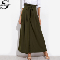 Sheinside Army Green Belted Box Pleated Wide Leg Pants Ladies High Waist Straight Pants With Ruffle 2017 Fall Elegant Trousers