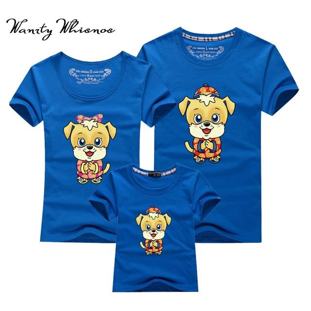 3393b204 2018 Family T Shirts Men Women Baby Child Clothing Parent-Child T-shirt  Cartoon Dog Couple T Shirt For Lovers Wholesale