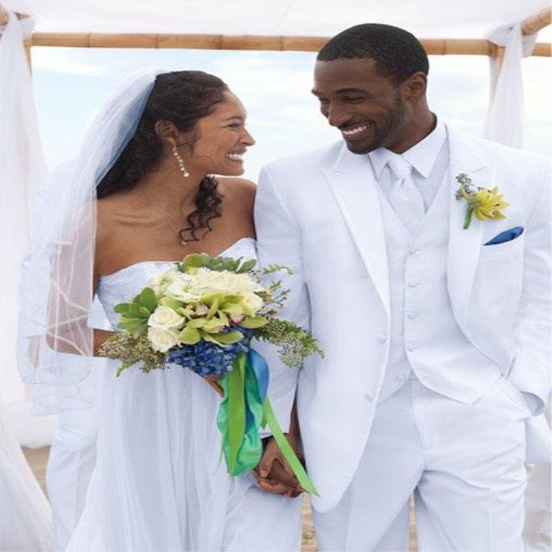 2018 Custom Made Mannen Wit Pak Jas Broek Vest Formele Kleding Mannen Pak Set Mannen Wedding Suits Bruidegom Tuxedos Voor Mannen Blazer