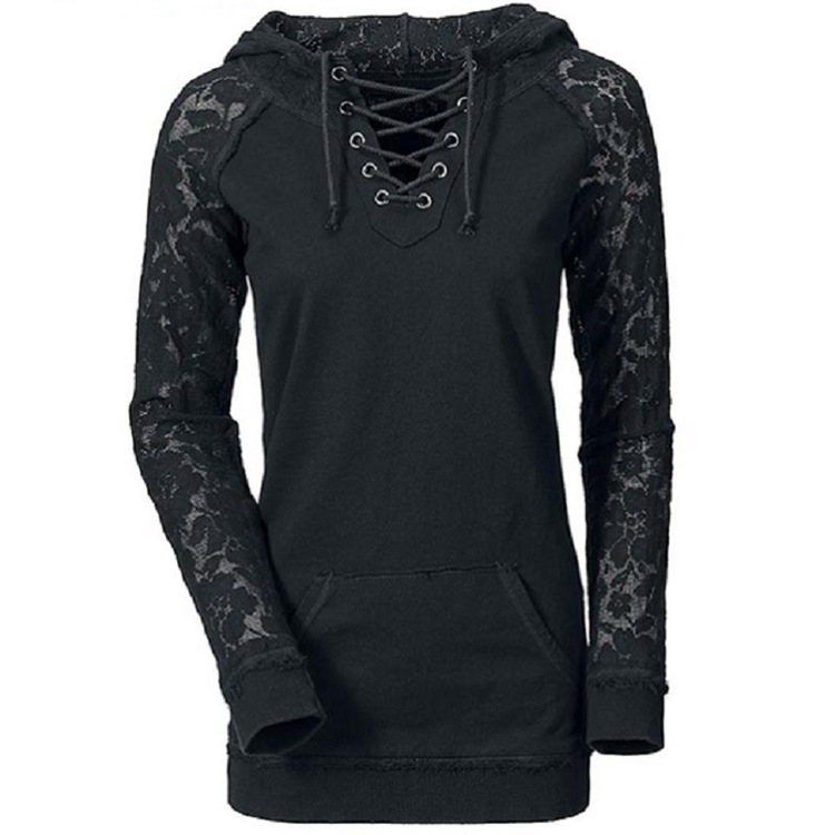free shipping Hot style lace stitching draw string hooded fleece S-XL