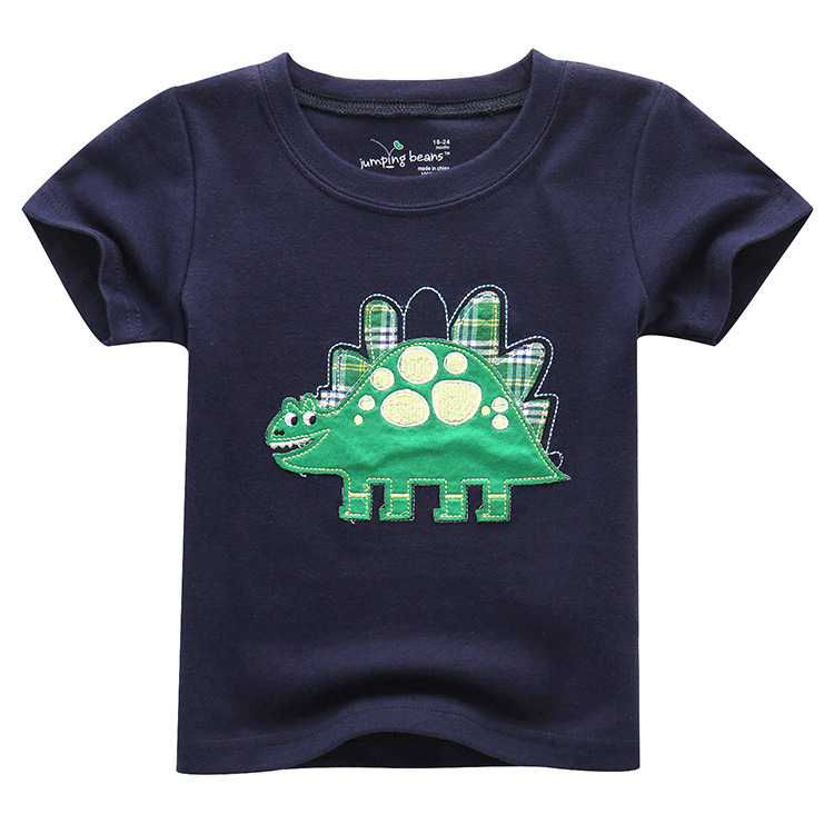 Kids Boys Cotton Short Sleeve <font><b>Tshirt</b></font> <font><b>Dinosaur</b></font> Print Kids Clothes Children Casual Tee Tops T Shirts image