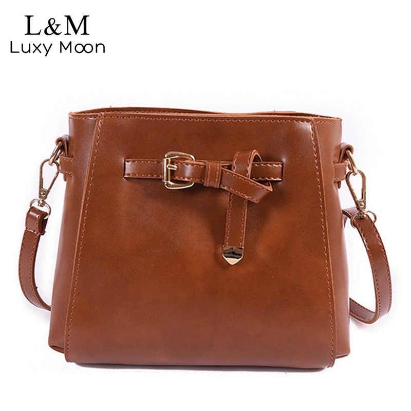 1d17719bccc9 Women Mini Black Leather Crossbody Bucket Bag Girls Brown Messenger Bags  2018 Fashion Ladies Strap Beach
