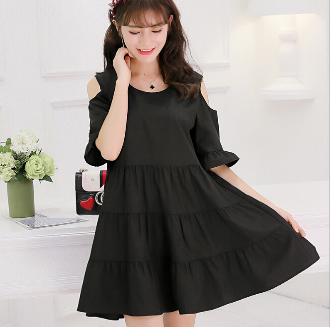 95f0a22cd826 Summer dress women clothing short sleeve bodycon dress Korean cute Dew  shoulder plaid high waist black red dress gril Vestidos-in Dresses from  Women's ...
