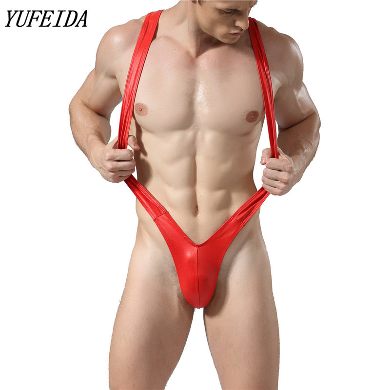 Solid Faux Leather Mens Bodysuit One Piece Sexy Gay Underwear Jockstrap Wrestling Singlets Shorts Boxers Jumpsuit Costume