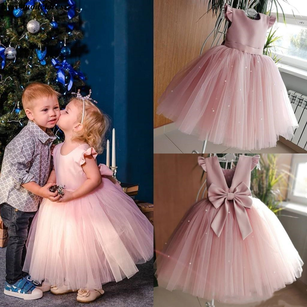 2019 Lovely Pink   Flower     Girl     Dresses   For Wedding Ball Gowns With Bow Pearls Floor Length O-Neck First Communion Pageant Gowns