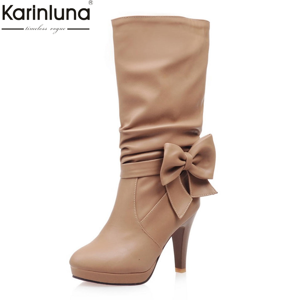 KarinLuna Large Size 33-43 Wholesale Bowtie High Heels Shoes Woman Boots Add Fur Winter Boots Mid Calf Woman Boots Shoes цена