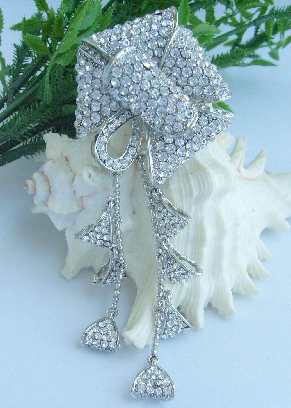 """5,3"""" Свадебная со стразами брошь в форме цветка со стразами Pin ювелирные изделия для невесты EE04913C1"""
