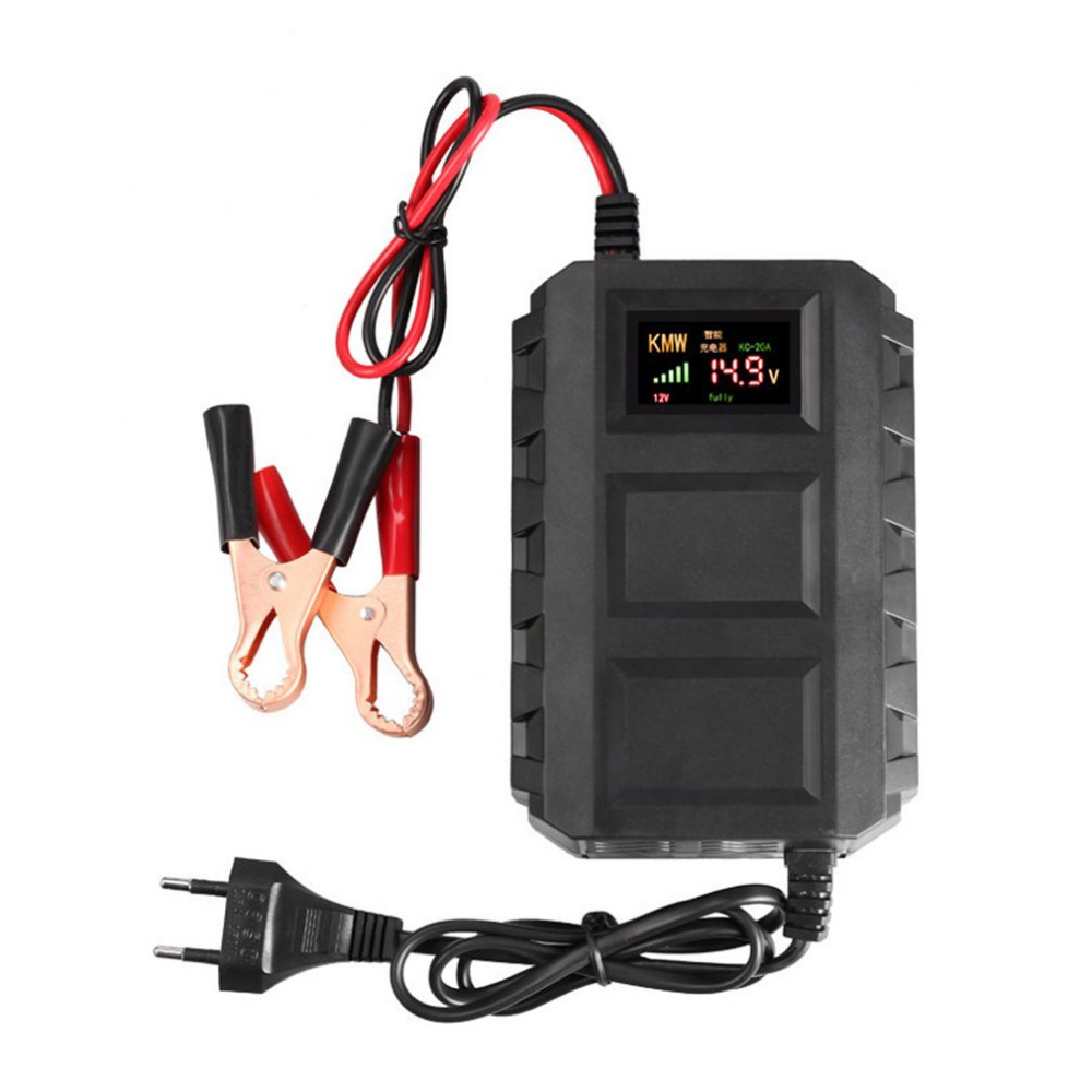 12V Intelligent Battery Charger LED Digital Display Fast 20A Lead Acid Battery Charger EU/US For Automobile Car Motorcycle Hot 12v 20a led display car battery charger 110 240v intelligent automobile car battery charger vehicle battery charger