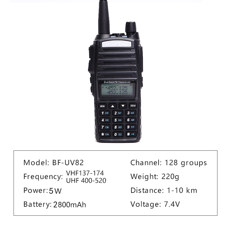 Image 2 - Baofeng UV 82 Walkie Talkie 5W Dual PTT UHF&VHF ham Radio 2 Way Radio For Hunting Tracker Woki Toki Ham CB Radio Station UV 82-in Walkie Talkie from Cellphones & Telecommunications