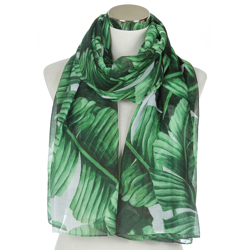 FOXMOTHER New Fashionable Women Tropical Green Bandana Leaves Shawl Wrap Foulard Scarf Ladies