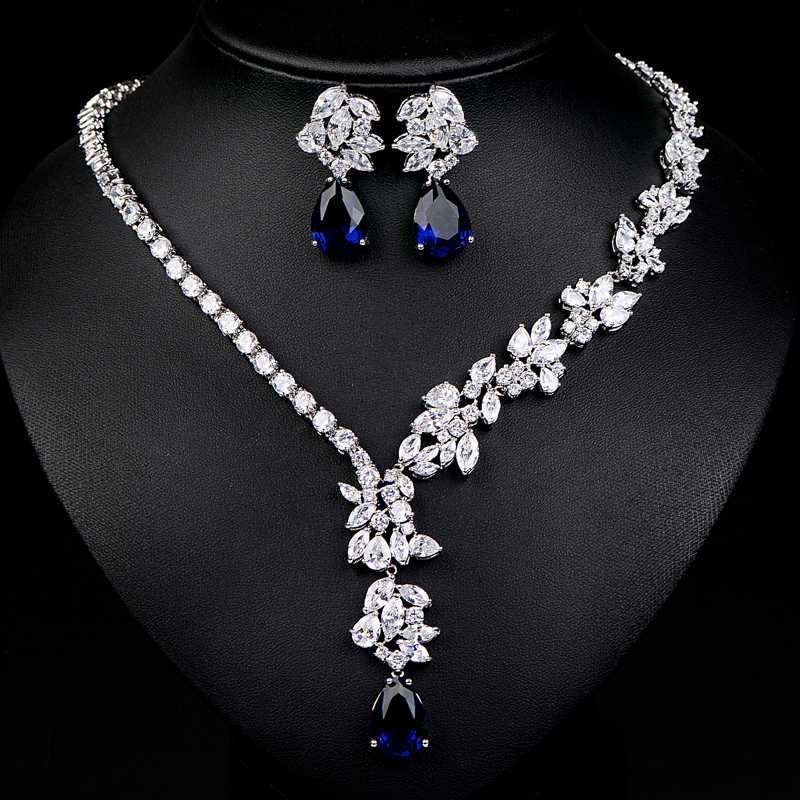 UILZ Luxury Sliver Color Green & Blue Flower Jewelry Sets For Women Wedding with Water Drop AAA Cubic Zircon JMSP005 blouse with flower bell bottom color blue