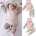 newborn baby girl clothes kids bebes 2pcs infant cotton pink striped hooded t-shirt tops+pants baby set casaco infantil menina