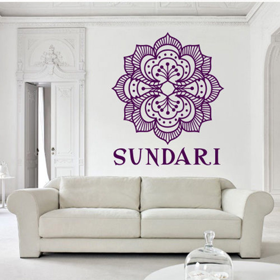 Personal Name Wall Decals Bedroom Yoga Mandala Menhdi Flower Pattern Ornament Om Indian Vinyl Wall Sticker Home Decor 56x56CM