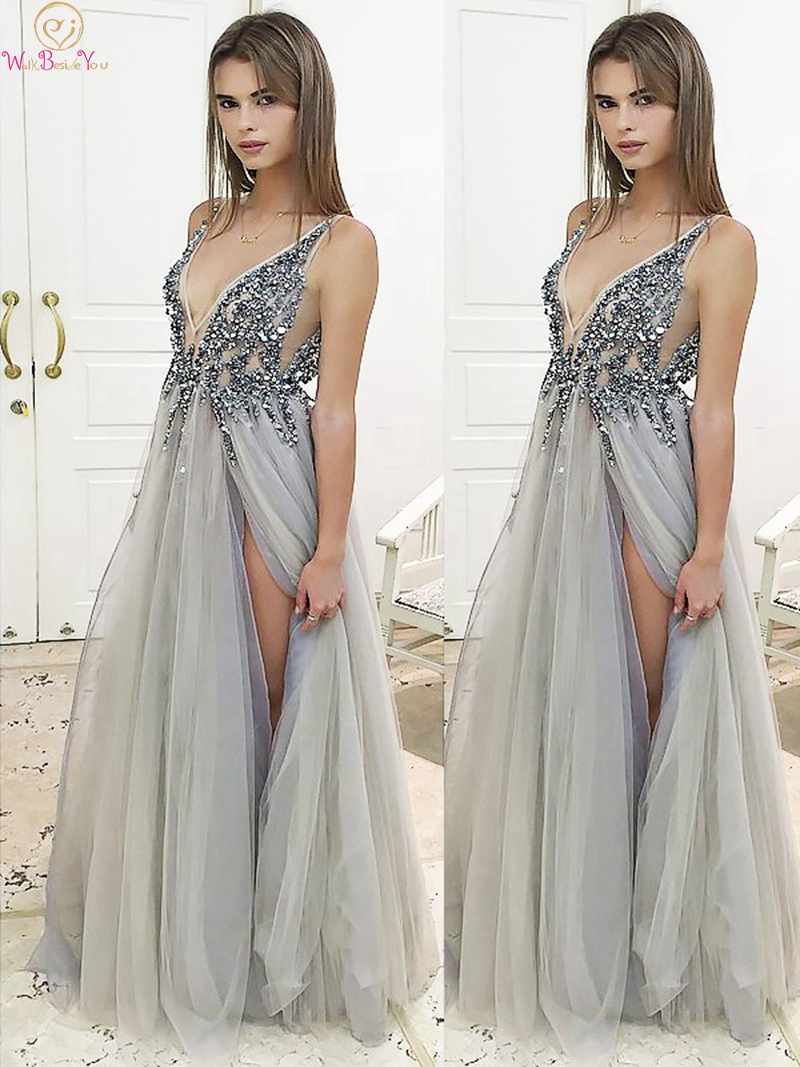 Sexy V Neck   Prom     Dresses   2019 Illusion Split A Line Tulle Floor Length Long Formal Party Backless Elegant Sequined Evening Gowns