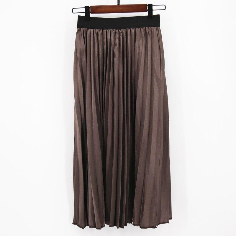 MNOGCC Brown Solid Fashion Skirt  Waist Skirt Women Elastic Waist Spring Pleated Long Skirts Female