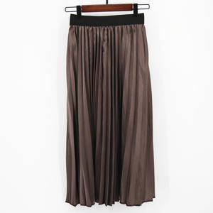 MNOGCC Fashion Skirt Pleated Women Elastic-Waist Brown Solid Spring Female