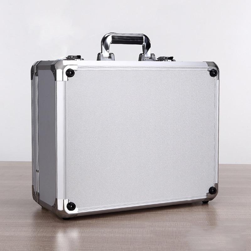 Caja de Herramientas de aleación de aluminio de gran capacidad, maletín portátil de almacenamiento, 450x360x200mm
