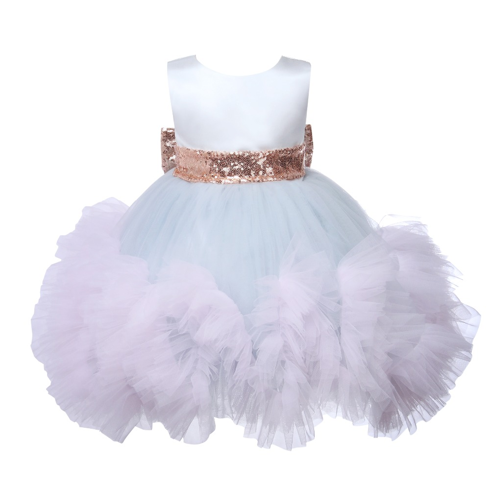 Baby Girl Wedding Dress Layered Sequin Bow Baptism Christening Gown Pageant Dress Toddler Princess Party 1