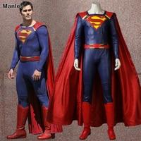 Superman Clark Kent Cosplay Supergirl Saison 2 Costume Costume de Super-Héros Rouge Cape Halloween Vêtements De Noël Costume Adulte Hommes