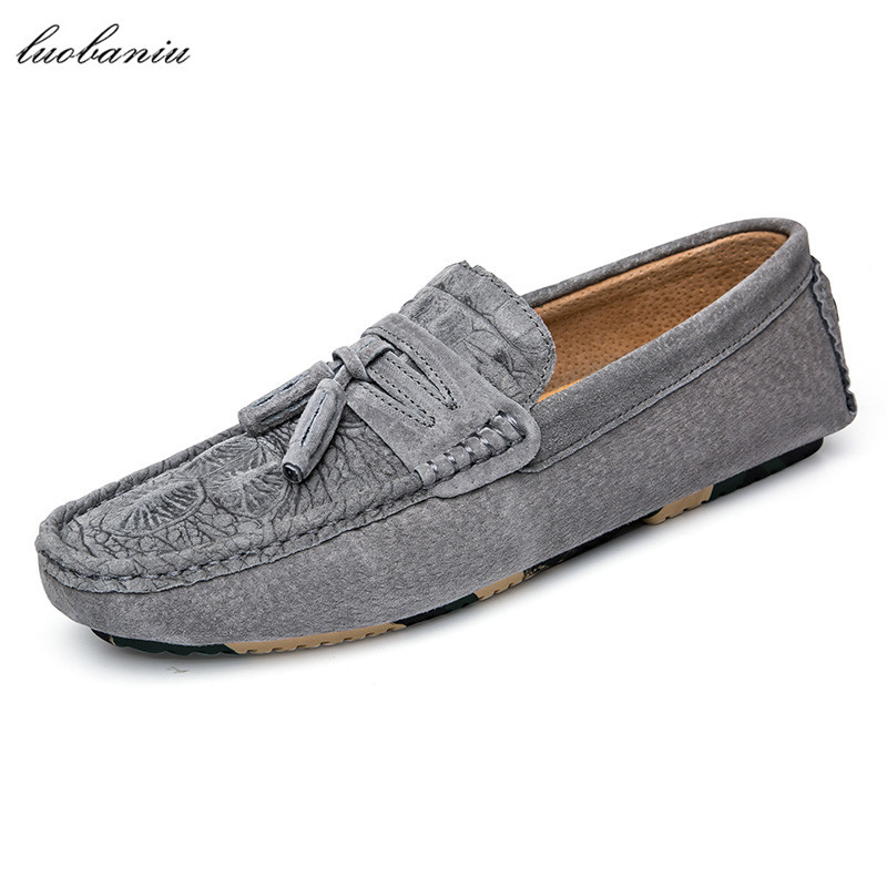 Suede Moccasins Men Loafers Embossed Brand Men Shoes Casual High Quality Driving Shoes Men 684 suede shoes