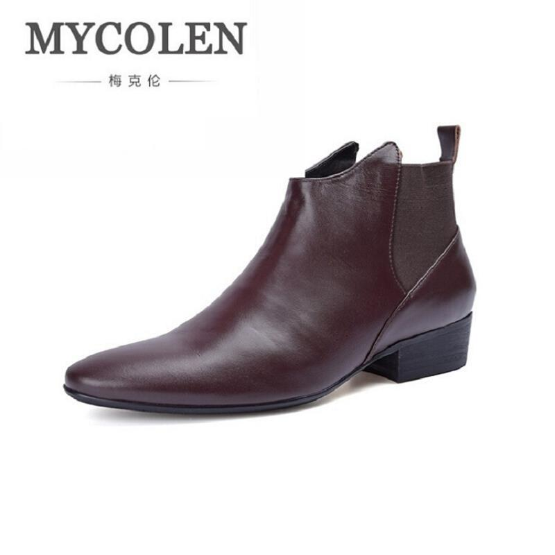 MYCOLEN New Classic Ankle Boots Black Leather Motorcylcle Boots Men Shoes Top Quality Casual Mens Shoes High Heels bottes homme the new puma womens shoes classic high classic star high tongue series white leather laser badminton shoes