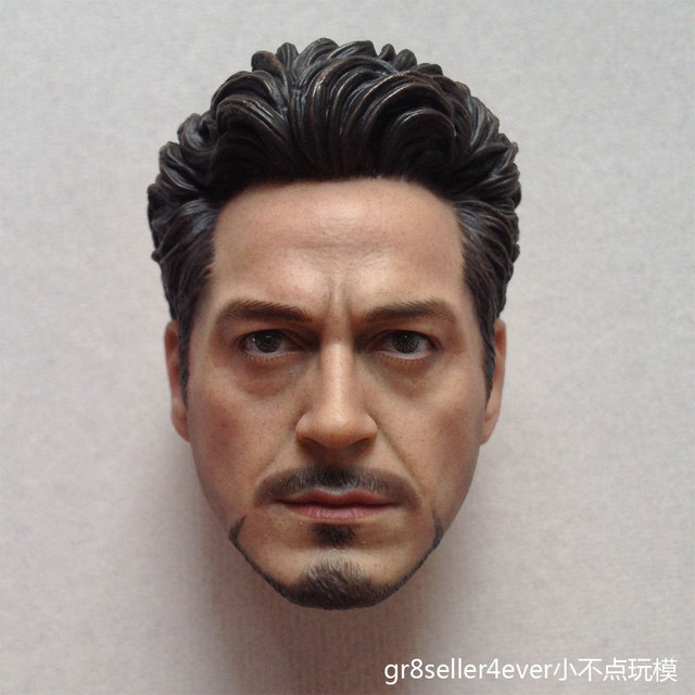 e2d67fe174e Custom 1 6 scale Head Sculpt Tony Stark Robert Downey Jr. fit 12 ...