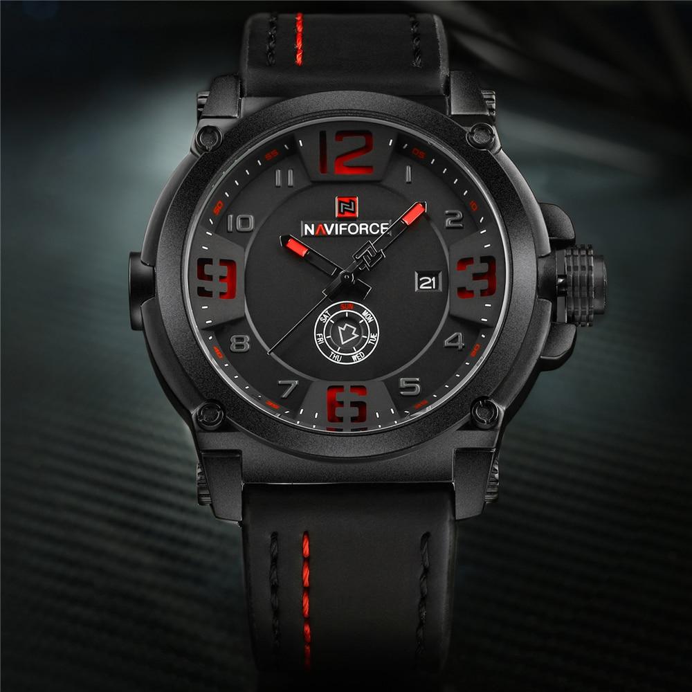 NAVIFORCE 9099 Mens Watches Top Brand Luxury Sport Quartz-Watch Leather Strap Clock Men Waterproof Wristwatch Relogio Masculino