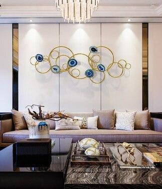 Гостиная Столовая Металлическая настенная подвеска спальня круглая подвесная Современная веранда настенное украшение