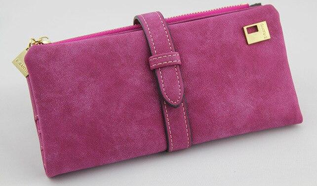 Известный бренд, Длинный кошелек, два сложения, женские кошельки, на завязках, нубук, кожа, на молнии, замшевый кошелек, дамская сумочка, клатч - Цвет: Rose
