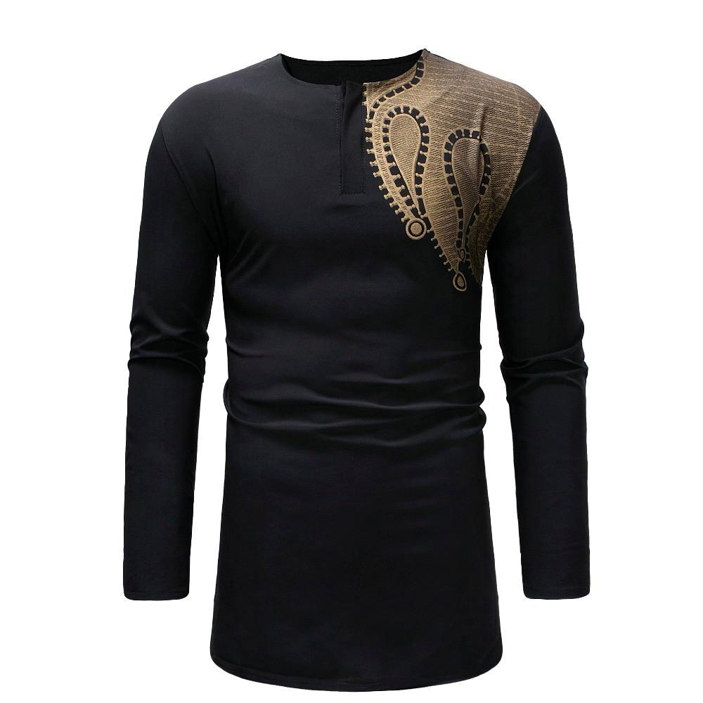 Longline Black T Shirt Men 2018 Hipster African style Dashiki Mens T-shirts Casual Slim Long Sleeve Streetwear Hip Hop Tshirts (2)