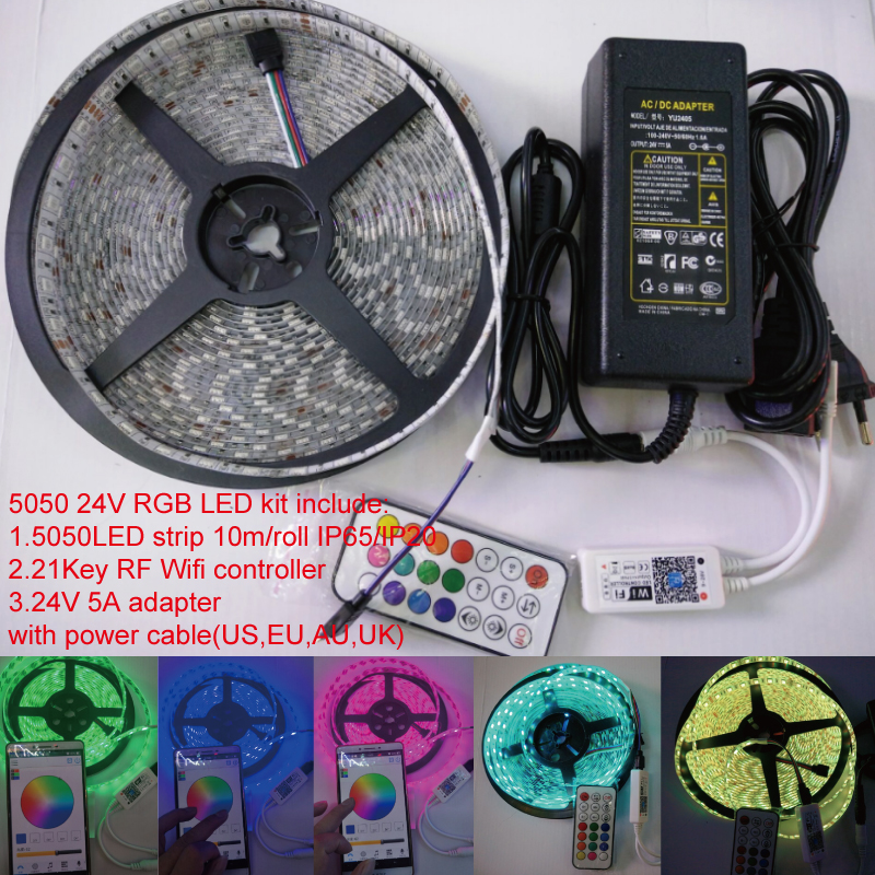 10m roll 24V 600LEDs RGB SMD5050 Flexible led Strip 21key IOS Android wifi color DIY muisc