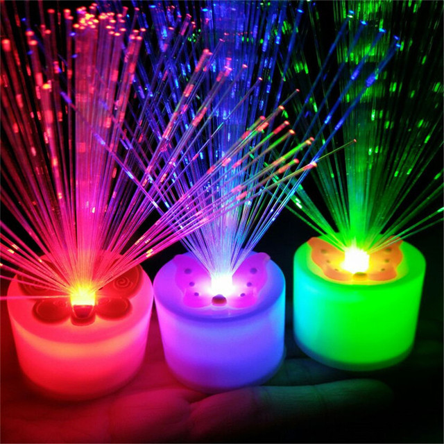 1pc Changing Led Fiber Optic Night Light Up Toy Lamp Battery Ed Small Christmas