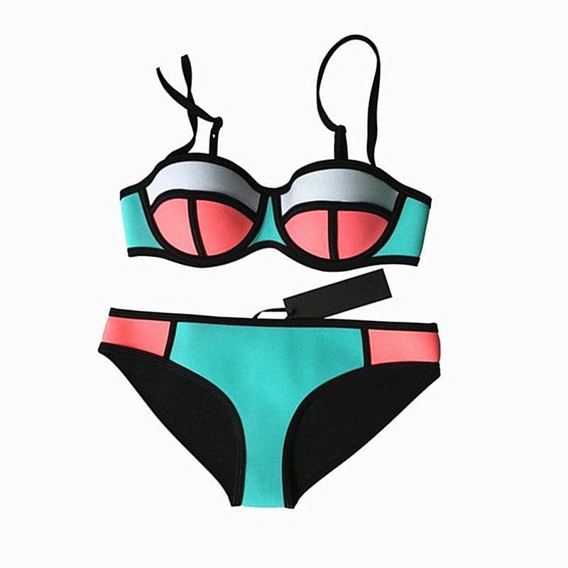 NODELAY Sexy Neoprene Bikini Push Up Swimwear Women Swimsuit 2018 Summer Beach Bathing Suit Bikini Set Red And Blue XL vertvie sexy solid bangdage bikini set green hollow out push up braided rope swimsuit women 2017 summer beach party bathing suit