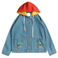Autumn Hooded Denim Jacket For Women Casual BF Jeans Jacket Vintage Harajuku Coat Female Loose Streetwear Basic Coats Floral