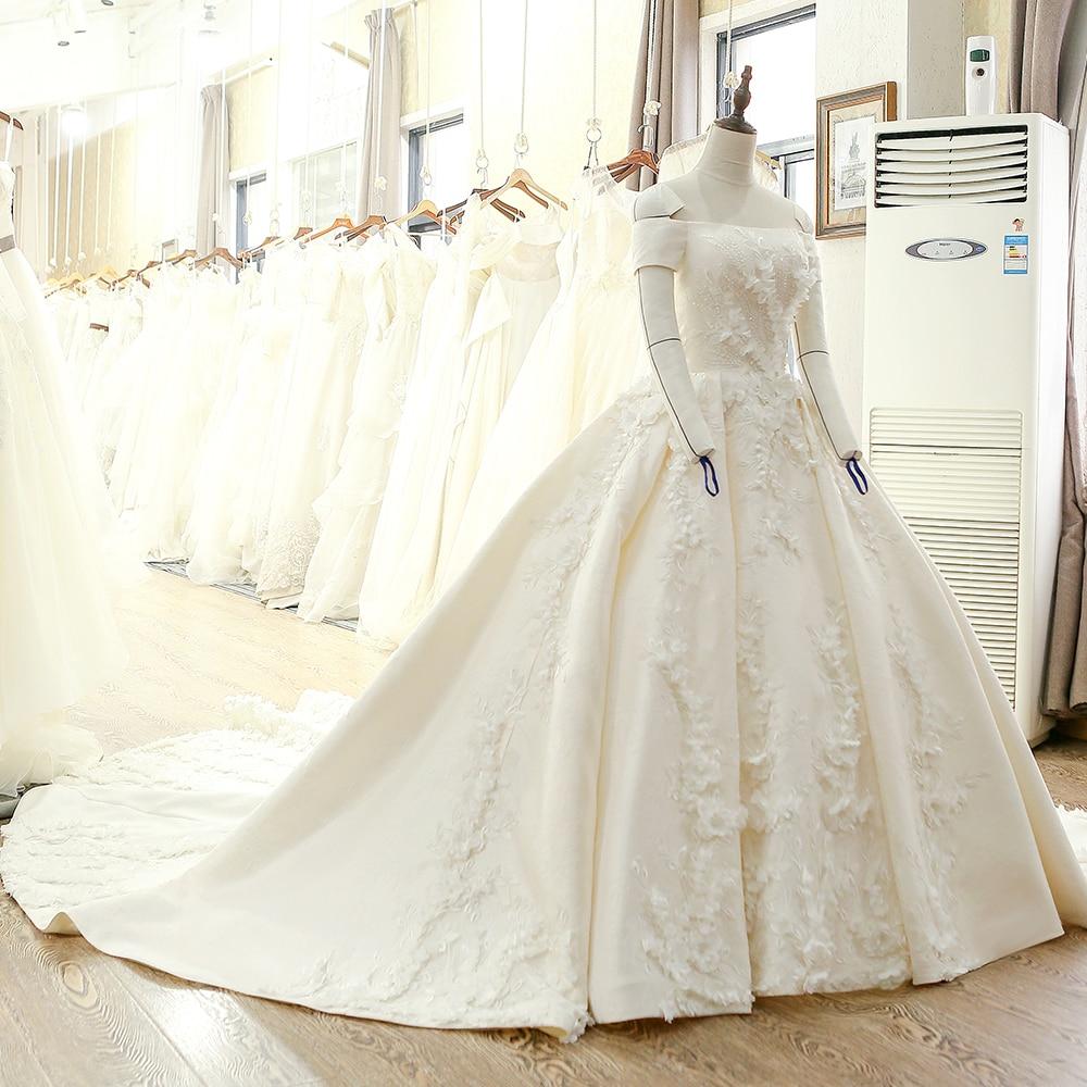 SL-128 Custom Made Satin Kortärmad Bollkledda Bröllopsklänning - Bröllopsklänningar - Foto 3